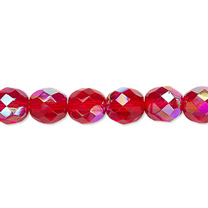 bead, czech fire-polished glass, light red ab, 8mm faceted round. sold per 16-inch strand.