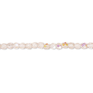 bead, czech fire-polished glass, light rose ab, 3mm faceted round. sold per pkg of 1,200 (1 mass).