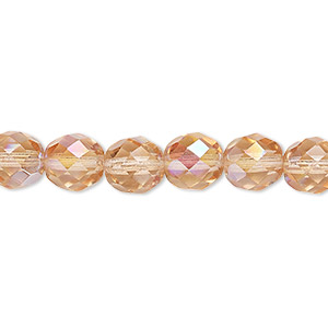 bead, czech fire-polished glass, light rose ab, 8mm faceted round. sold per pkg of 600 (1/2 mass).