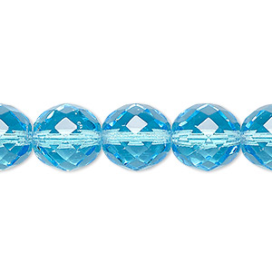 bead, czech fire-polished glass, light turquoise blue, 12mm faceted round. sold per 16-inch strand, approximately 35 beads.