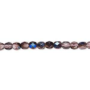 bead, czech fire-polished glass, lilac blue iris, 4mm faceted round. sold per 16-inch strand.