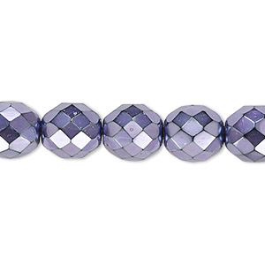 bead, czech fire-polished glass, lilac carmen, 10mm faceted round. sold per 16-inch strand.