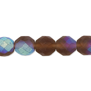 bead, czech fire-polished glass, matte light brown ab, 10mm faceted round. sold per 16-inch strand.