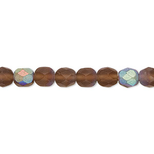 bead, czech fire-polished glass, matte light brown ab, 6mm faceted round. sold per 16-inch strand.