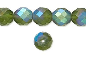 bead, czech fire-polished glass, matte light green ab, 10mm faceted round. sold per 16-inch strand.
