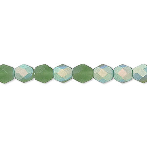 bead, czech fire-polished glass, matte light green ab, 6mm faceted round. sold per 16-inch strand.