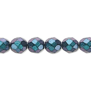 bead, czech fire-polished glass, metallic blue, 8mm faceted round. sold per 16-inch strand, approximately 50 beads.