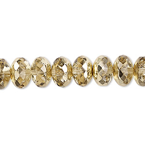 bead, czech fire-polished glass, metallic pale gold, 11x7mm faceted rondelle. sold per pkg of 600 (1/2 mass).