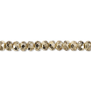 bead, czech fire-polished glass, metallic pale gold, 5x4mm faceted rondelle. sold per 16-inch strand.