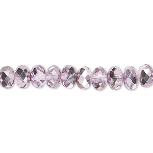 bead, czech fire-polished glass, metallic pink silver, 7x5mm faceted rondelle. sold per 16-inch strand.