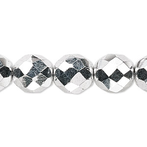 bead, czech fire-polished glass, metallic silver, 12mm faceted round. sold per 16-inch strand.