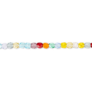 bead, czech fire-polished glass, multicolored, 3mm faceted round with 0.8-1mm hole. sold per pkg of 1,200 (1 mass).