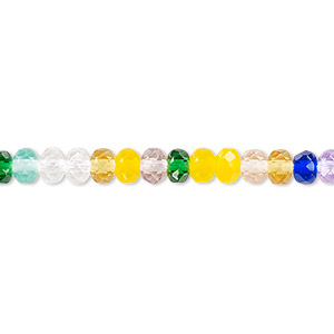 bead, czech fire-polished glass, multicolored, 5x4mm faceted rondelle. sold per 16-inch strand.