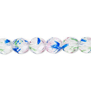 bead, czech fire-polished glass, multicolored, 8mm faceted round. sold per 16-inch strand, approximately 50 beads.