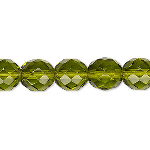bead, czech fire-polished glass, olivine, 10mm faceted round. sold per pkg of 600 (1/2 mass).