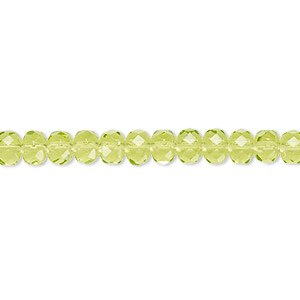 bead, czech fire-polished glass, olivine, 5x4mm faceted rondelle. sold per pkg of 1,200 (1 mass).