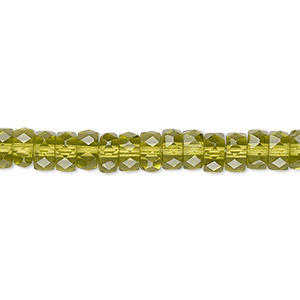 bead, czech fire-polished glass, olivine, 6x3mm faceted rondelle. sold per 16-inch strand.