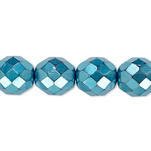 bead, czech fire-polished glass, opaque aqua carmen, 12mm faceted round. sold per 16-inch strand.