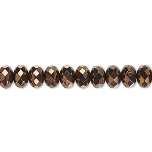 bead, czech fire-polished glass, opaque bronze, 7x5mm faceted rondelle. sold per 16-inch strand.