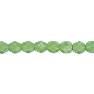 bead, czech fire-polished glass, opaque green, 6mm faceted round. sold per 16-inch strand, approximately 65 beads.