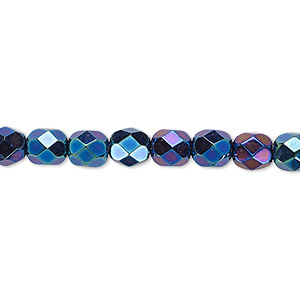 bead, czech fire-polished glass, opaque iris blue, 6mm faceted round. sold per 16-inch strand.