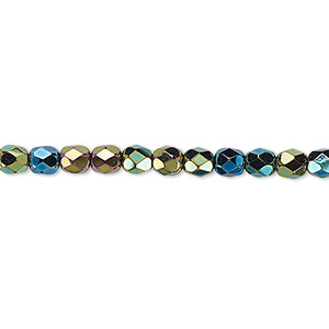 bead, czech fire-polished glass, opaque iris green, 4mm faceted round. sold per 16-inch strand.