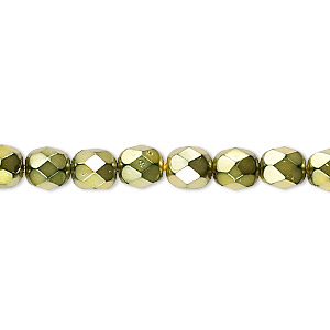 bead, czech fire-polished glass, opaque light green carmen, 6mm faceted round. sold per 16-inch strand.