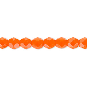 bead, czech fire-polished glass, opaque orange, 6mm faceted round. sold per pkg of 1,200 (1 mass).