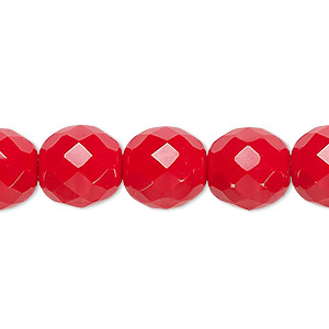 bead, czech fire-polished glass, opaque red, 12mm faceted round. sold per 16-inch strand, approximately 35 beads.