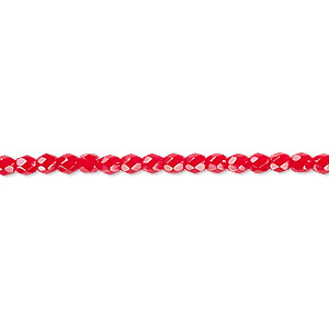 bead, czech fire-polished glass, opaque red, 3mm faceted round. sold per pkg of 1,200 (1 mass).
