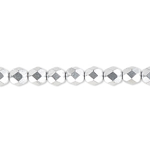 bead, czech fire-polished glass, opaque satin silver, 6mm faceted round. sold per 16-inch strand, approximately 65 beads.
