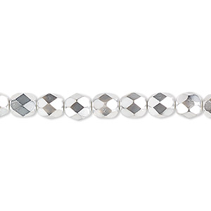 bead, czech fire-polished glass, opaque to transparent clear with half-coat metallic silver and chrome, 6mm faceted round. sold per 16-inch strand.