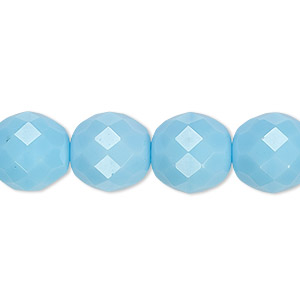 bead, czech fire-polished glass, opaque turquoise blue, 12mm faceted round. sold per pkg of 600 (1/2 mass).