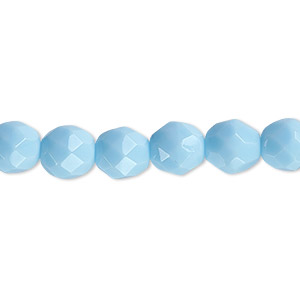 bead, czech fire-polished glass, opaque turquoise blue, 8mm faceted round. sold per pkg of 600 (1/2 mass).