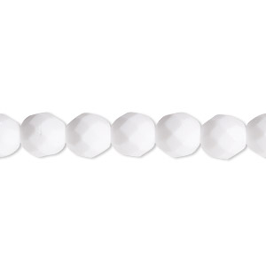 bead, czech fire-polished glass, opaque white, 8mm faceted round. sold per 16-inch strand, approximately 50 beads.