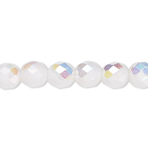 bead, czech fire-polished glass, opaque white ab, 8mm faceted round. sold per 16-inch strand, approximately 50 beads.