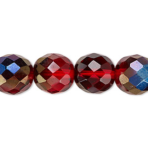 bead, czech fire-polished glass, red blue iris, 12mm faceted round. sold per 16-inch strand.