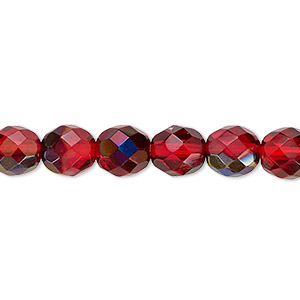 bead, czech fire-polished glass, red blue iris, 8mm faceted round. sold per 16-inch strand.