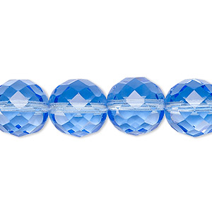 bead, czech fire-polished glass, sapphire blue, 12mm faceted round. sold per 16-inch strand, approximately 35 beads.