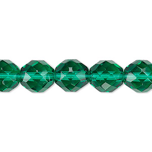 bead, czech fire-polished glass, teal, 10mm faceted round. sold per 16-inch strand, approximately 40 beads.