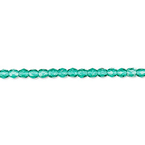 bead, czech fire-polished glass, teal, 3mm faceted round. sold per 16-inch strand, approximately 130 beads.