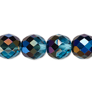 bead, czech fire-polished glass, teal blue iris, 12mm faceted round. sold per 16-inch strand.