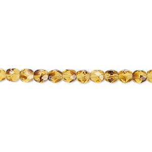 bead, czech fire-polished glass, tortoise, 4mm faceted round. sold per 16-inch strand, approximately 100 beads.