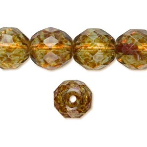 bead, czech fire-polished glass, tortoise gold, 10mm faceted round. sold per 16-inch strand, approximately 40 beads.
