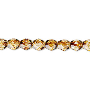 bead, czech fire-polished glass, tortoise gold, 6mm faceted round. sold per 16-inch strand, approximately 65 beads.