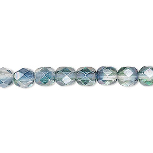bead, czech fire-polished glass, translucent green and teal luster, 6mm faceted round. sold per 16-inch strand.