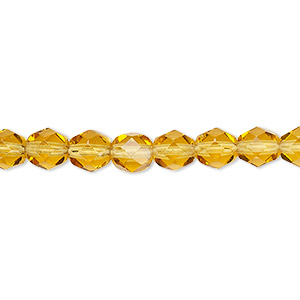 bead, czech fire-polished glass, translucent honey, 6mm faceted round. sold per pkg of 1,200 (1 mass).