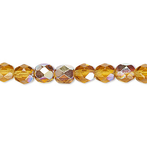 bead, czech fire-polished glass, translucent honey ab, 6mm faceted round. sold per 16-inch strand.