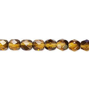 bead, czech fire-polished glass, translucent honey blue iris, 6mm faceted round. sold per 16-inch strand.