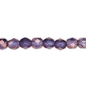 bead, czech fire-polished glass, translucent purple and gold, 6mm faceted round. sold per 16-inch strand, approximately 65 beads.